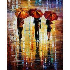 Three Red Umbrellas - Leonid Afremov