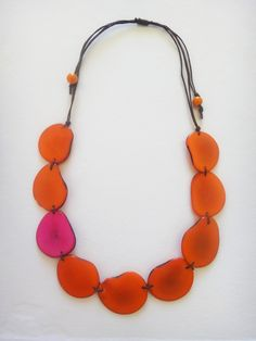 Orange and Pink Tagua Nut Necklace