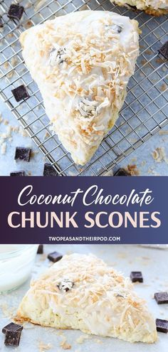 Coconut Chocolate Chunk Scones Coconut Chocolate Chunk Scones are homemade treats perfect for Easter! Soft and fluffy scones are loaded with coconut and chocolate chunks in a sweet coconut glaze. Brunch Recipes, Breakfast Recipes, Dessert Recipes, Breakfast Scones, Breakfast Cookies, Breakfast Club, Coconut Chocolate, Chocolate Hummus, Chocolate Snacks