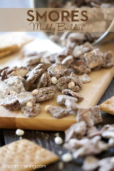 Smores Muddy Buddies from chef-in-training.com ...This stuff is delicious and dangerously addictive! I seriously cant get enough of it!