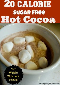 20 Calorie Sugar Free Hot Cocoa Recipe 20 Calorie Sugar Free Hot Cocoa is ZERO Weight Watchers points – 1 Tbs unsweetened cocoa powder, Tbs splenda, tsp vanilla extract, 1 c boiling water or skim milk Weight Watcher Desserts, Weight Watchers Meals, Cocoa Recipes, Hot Chocolate Recipes, Ww Recipes, Low Calorie Hot Chocolate Recipe, Healthy Hot Chocolate, Shake Recipes, Ww Desserts