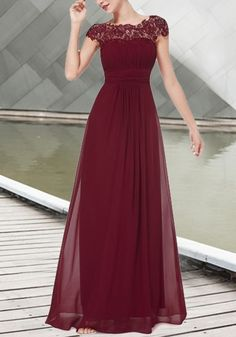 Wine Red Patchwork Lace Cut Out Backless Draped Elegant Chiffon Prom Maxi Dress Bridesmade Dresses, Burgundy Bridesmaid Dresses, Grad Dresses, Modest Dresses, Ball Dresses, Nice Dresses, Ball Gowns, Evening Dresses, Burgundy Gown
