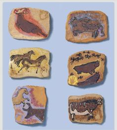 Lascaux-style cave paintings on clay, uses a small amount of clay per student. Elementary or middle school art project. Ceramics Projects, Art Projects, Stone Age Art, Lascaux, 6th Grade Art, Art Lessons Elementary, Middle School Art, Art Lesson Plans, Art Classroom