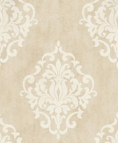 Marble Damask (20089) - Albany Wallpapers - A grand scale damask, shown on a complimenting marble background. Shown here in metallic beige and white. Other colourways are available. Please request a sample for a true colour match. Paste-the-wall product.
