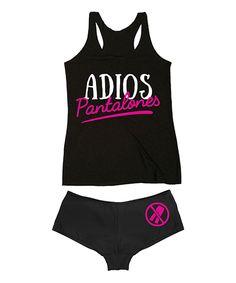 Look at this Black 'Adios Pantalones' Tank & Hipster on #zulily today!