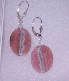 925 Silver Oval Rhodochrosite  Dangle Earrings by dsmenagerie