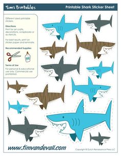 Printable Shark Stickers, free for personal arts and crafts projects. For high resolution JPEG (1200x 927) please visit:  http://timvandevall.com/shape-templates/shark-templates/