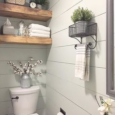 Modern Rustic Bathroom - Farmhouse Room Makeover - Joyful Derivatives - Modern Farmhouse Bathroom / DIY Shiplap and Floating Shelves / Cotton Stem Decor - Baños Shabby Chic, Design Apartment, Modern Farmhouse Bathroom, Farmhouse Ideas, Farmhouse Small, Urban Farmhouse, Industrial Bathroom, Industrial Farmhouse, Farmhouse Chic
