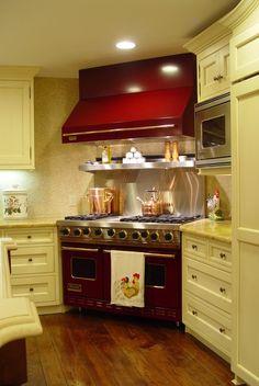 I love the white cabinets and the corner range