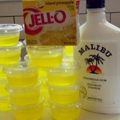 Piña Colada Jello Shooters! (party drinks alcohol malibu)