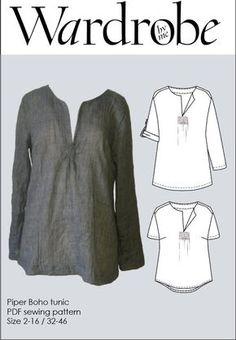 Boho Tunika PDF Muster Frauen/Damen Shirt PDF e von Wardrobebyme