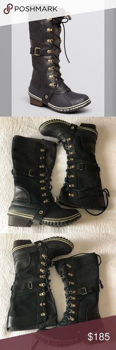 Sorel Conquest Carly Lace Up Cold Weather Boots Only wore a few times, just like new. No box no trades Sorel Shoes Winter & Rain Boots