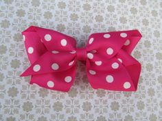 Pink and White Twisted Hair Bow