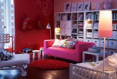Living Room, Round Rug In Cute Ikea Living Room Also Large Wall Bookshelves Feat Pink Small Sofa And Minimalist Floor Lamps ~ Excellent IKEA Living Room Ideas