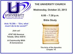 Bible Study at The University Church on October 23, 2013.