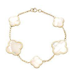 $42 - La Preciosa Gold over Silver Mother of Pearl Clover Bracelet - Overstock™ Shopping - Top Rated La Preciosa Gemstone Bracelets