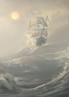 Ideas For Painting Sea Storm Ocean Ice climbing waters trip ships kayaking Ocean Storm, Fantasy Posters, Old Sailing Ships, Ship Drawing, Arte Obscura, Ship Paintings, Stormy Sea, Nautical Art, Pirates Of The Caribbean