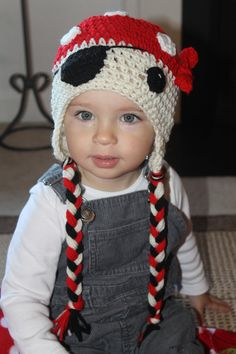 Crochet Pirate Beanie with Cream Face, Red Bandanna with White Polka Dots, and… Crochet Kids Hats, Crochet Cap, Crochet For Boys, Crochet Beanie, Cute Crochet, Crochet Crafts, Crochet Projects, Knitted Hats, Pirate Hats