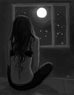 Now that I am no longer alone I don't. Sad Paintings, Sad Drawings, Moon Drawing, Look At The Moon, Sad Art, Dark Fantasy Art, Moon Art, Anime Art Girl, Aesthetic Art