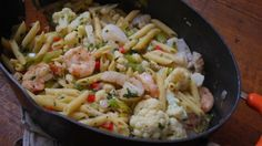 Hot or Cold Spicy Cauliflower and Seafood Pasta.