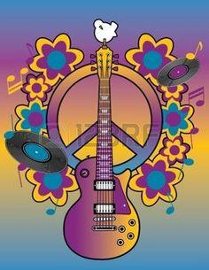 hippie: Une illustration d'un symbole de paix de la guitare et colombe Illustration