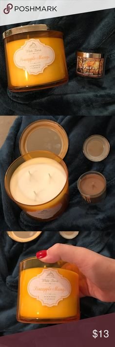 Bath and body works candle set Brand new never used Pineapple Mango 3 wick and Leaves single small 1 wick. 3 wick is 14.5 oz and the Leaves is 1.3 oz  PRICE FIRM bath and body works Other