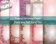 Journal Paper, Junk Journal, Red Paper, Stationery Set, Writing Paper, Your Image, Printables, Messages, Digital