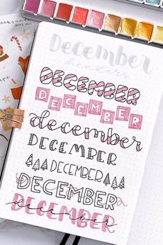 Creative December Headers For Your Bujo Spreads - Crazy Laura Check out these super fun DECEMBER header ideas to try in your bullet journal Bullet Journal School, Bullet Journal Headers, December Bullet Journal, Bullet Journal Lettering Ideas, Bullet Journal Banner, Journal Fonts, Bullet Journal Notebook, Bullet Journal Ideas Pages, Bullet Journal Inspiration