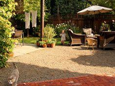Gravel between brick and concrete patios