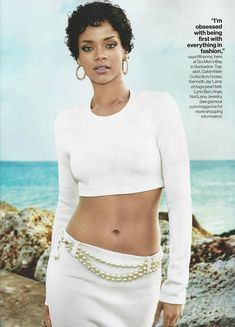 RIHANNA BLACK AND WHITE LOOKS EDITORIAL PHOTOSHOOT GLAMOUR MAGAZINE BARBADOS SHORT CURLY HAIR BEAUTY HOOP EARRINGS  CROP CROPPED LONGSLEEVE ...
