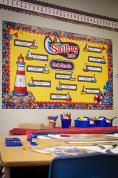 Sailing Into..Bulletin Board Set and Anchor Border Trim are a match made in heaven!