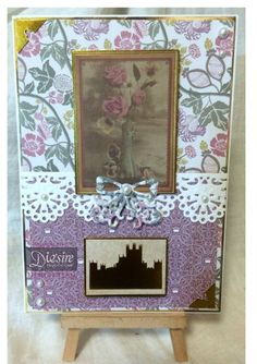 Sharon King - Downton Abbey 12 x 12 paper pad - Downton Abbey Die Cut Toppers Set 1 -  Downton Abbey Pearls: White &  Cream - Downton Abbey Elegant Border die - Downton Abbey Ribbon Brooch die - Collall 3D Glue Gel - Crafter's Companion Tape Pen - #crafterscompanion #DowntonAbbey