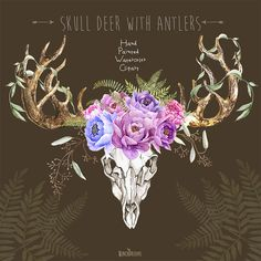 Skull Deer With Antlers. Hand Painted Horns Fern от ReachDreams