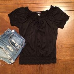 Cute black top NWOT! Brand new, never worn super cute black top! Sweet gathered waistband and elastic ruching at sleeve. Delicate tie at neckline. Darling paired with shorts or a dress pant. No paypal/trades. Tops