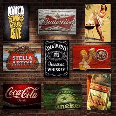 placas decorativas mdf - retrô vintage cervejas bebidas bar