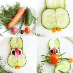 idées repas santé amusant pour enfants: lapin de légumes