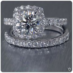 Round Cut Diamond Engagement Wedding Ring Set in Solid White Gold Square Halo Engagement Rings, Wedding Engagement, Wedding Bands, Halo Rings, Wedding Ring, Diamond Rings, Solitaire Rings, Wedding Lace, Engagement Ideas