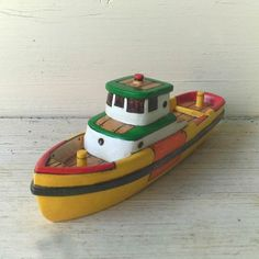 Yellow Rescue Toy Wooden Boat by FriendlyFairies on Etsy, $45.00