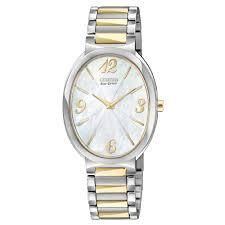 WATCH CITIZEN LADIES ECO-DRIVE OVAL MOTHER OF PEARL DIAL STAINLESS STEEL AND GOLD PLATE CASE AND BRACELET WATER RESISTANT - Jons Family Jewellers