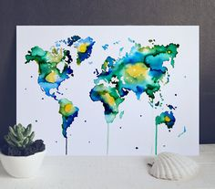 Multicolored Watercolor World Map  Map of the by WatercolorMary