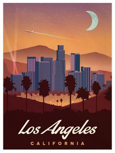 Vintage Travel Image of Vintage Los Angeles Poster - Browse all products in the Travel Posters category from IdeaStorm Studio Store. Poster Art, Poster Layout, Poster Prints, Photo Vintage, French Vintage, Los Angeles California, Los Angeles Skyline, Photo Wall Collage, Vintage Travel Posters