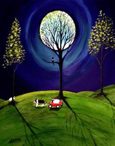 Border Collie Dog Moon Wagon Folk Art Print Todd Young Painting A Helping Hand | eBay