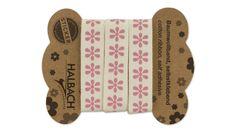 "Baumwollband, weiß, selbstklebend, ""rosa Blume"", 16 mm, 1 m"