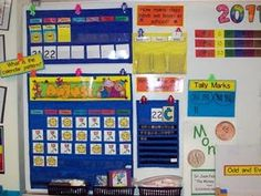 calendar pockets for weather calendar idea Teaching Calendar, Preschool Calendar, Calendar Activities, Teaching Math, Teaching Ideas, Classroom Layout, Classroom Fun, Kindergarten Classroom, Classroom Organization