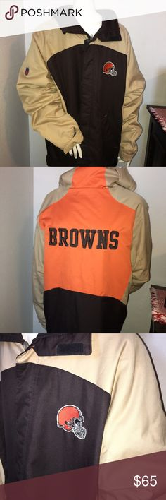 """Reebok men's Cleveland Browns hooded jacket Sz: xl Thank you for viewing my listing, for sale is a men's Long-sleeve, Reebok brand, vintage, Cleveland Browns, men's, winter jacket/coat.  Great condition, looks brand new! Sz: XL Team: Cleveland Browns  Color: Light brown, brown, & orange  If you have any questions or would like additional photos please feel free to ask  From under one arm to under the other measures appx 27"""" from the top of the shoulder to the bottom of the coat measures appx…"""