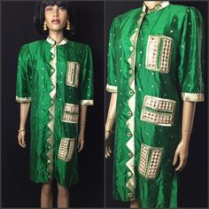 A personal favorite from my Etsy shop https://www.etsy.com/listing/546218452/vintage-indian-mirrored-silk-tunic