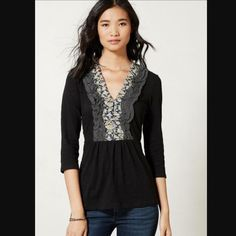 Deletta Ruffle top Beautiful black ruffle top, bundle for discount! Anthropologie Tops Blouses