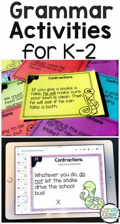 Improve students' writing with these grammar ideas for the primary grades. Scoop up the free grammar task cards after learning about three activities to use in your literacy centers. First Grade Activities, Grammar Activities, Writing Activities, Listening Activities, Vocabulary Games, Grammar Practice, Teaching Grammar, Teaching Kindergarten, Teaching Ideas