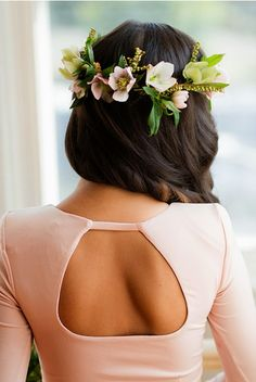 A romantic, hellebore flower crown | Brides.com
