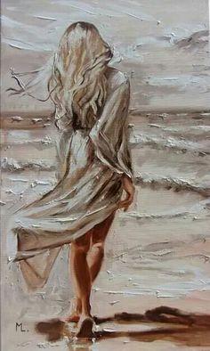 Monika Luniak - Paintings for Sale - Oil Painting Oil Painting On Canvas, Painting & Drawing, Woman Painting, Acrylic Canvas, Sky Sea, Fine Art, Portrait Art, Beautiful Paintings, Painting Inspiration